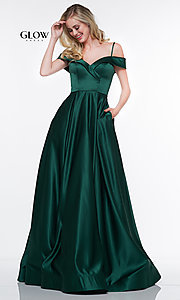 Image of long a-line satin formal evening gown with pockets. Style: CD-GL-G841 Front Image