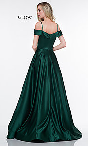 Image of long a-line satin formal evening gown with pockets. Style: CD-GL-G841 Back Image