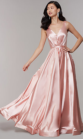 Formal Long Satin Prom Dress in Blush Pink