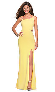 Image of long asymmetrical-neck backless formal evening gown. Style: LF-27126 Detail Image 7