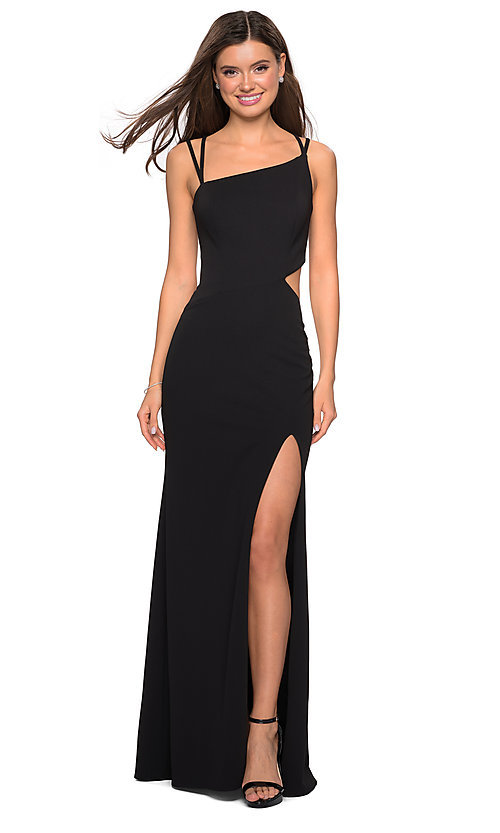 Image of long asymmetrical-neck backless formal evening gown. Style: LF-27126 Detail Image 2
