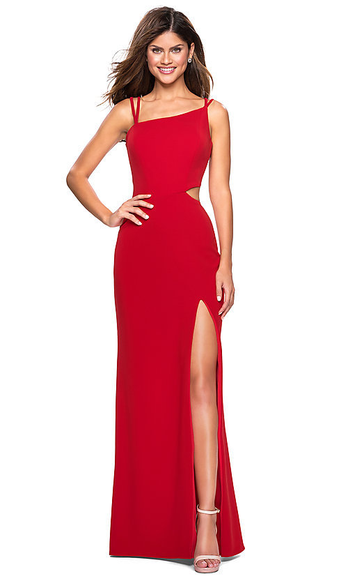 Image of long asymmetrical-neck backless formal evening gown. Style: LF-27126 Front Image