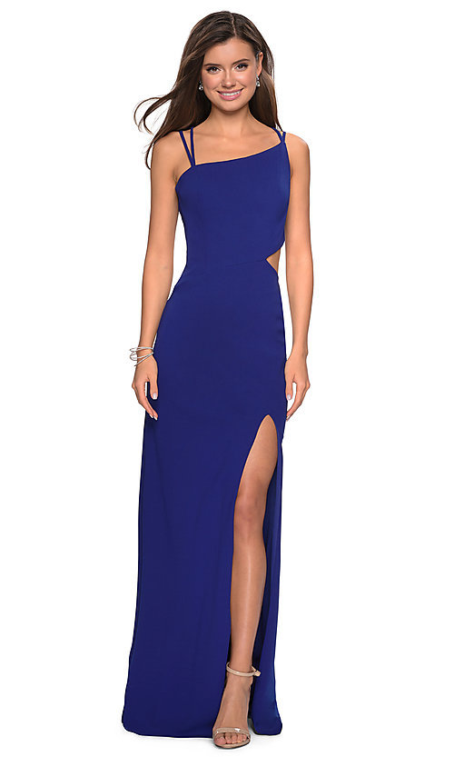 Image of long asymmetrical-neck backless formal evening gown. Style: LF-27126 Detail Image 5