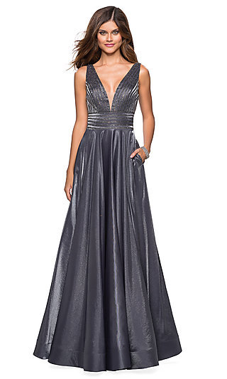 Long A-Line Open V-Back Formal Gown with Pockets