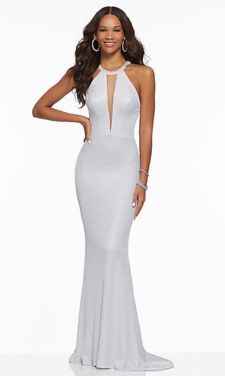 High Neck Strappy Back Long Prom Dress by Mori Lee