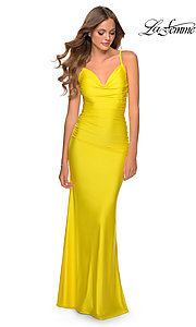 Image of La Femme long simple prom dress with ruching. Style: LF-27501 Front Image