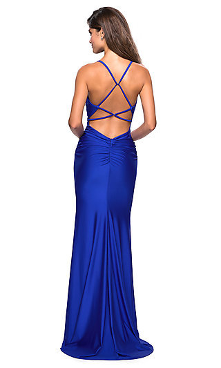 La Femme Ruched Formal Gown with Criss-Cross Straps