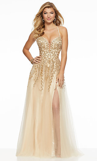 Open Back Corset Tie V-Neck Long Prom Dress by Mori Lee