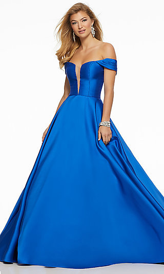 Long Ball Gown Off-the-Shoulder Prom Dress by Mori Lee
