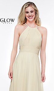 Image of long high-neck chiffon ruched formal gown. Style: CD-GL-G817 Detail Image 5