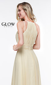 Image of long high-neck chiffon ruched formal gown. Style: CD-GL-G817 Detail Image 6