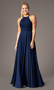 Image of long high-neck chiffon ruched formal gown. Style: CD-GL-G817 Detail Image 3