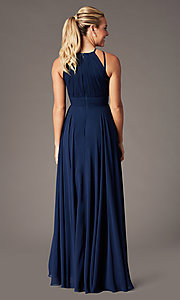 Image of long high-neck chiffon ruched formal gown. Style: CD-GL-G817 Detail Image 4