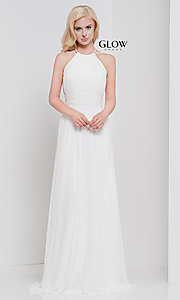 Image of long high-neck chiffon ruched formal gown. Style: CD-GL-G817 Detail Image 7
