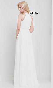 Image of long high-neck chiffon ruched formal gown. Style: CD-GL-G817 Detail Image 8