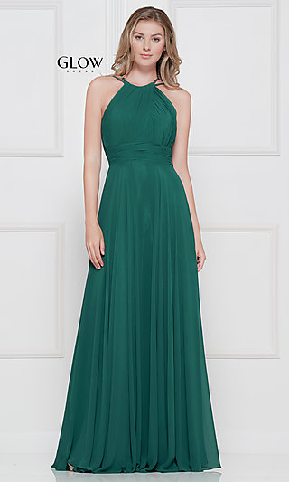Long High-Neck Chiffon Ruched Formal Gown