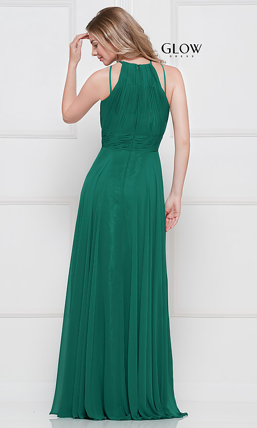 Image of long high-neck chiffon ruched formal gown. Style: CD-GL-G817 Back Image