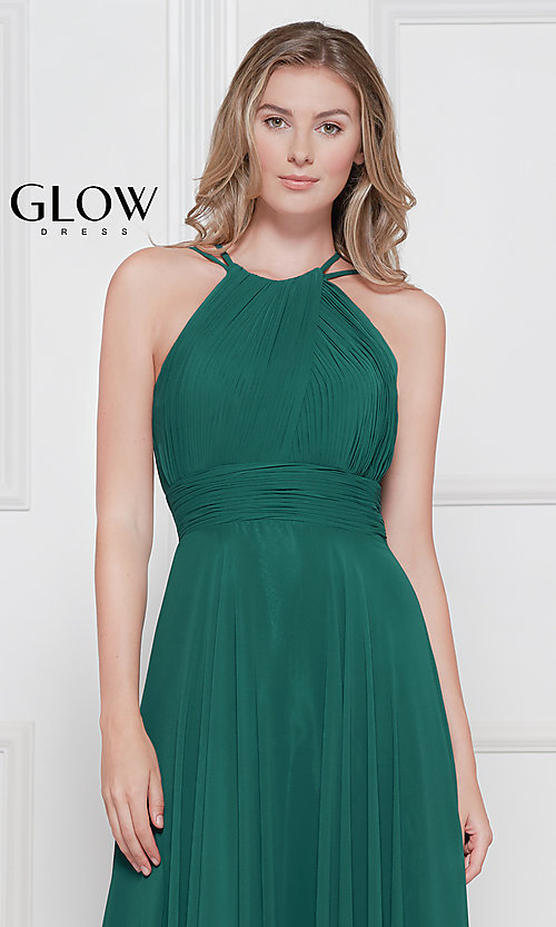Image of long high-neck chiffon ruched formal gown. Style: CD-GL-G817 Detail Image 1