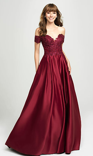 Madison James Satin A-Line Formal Gown