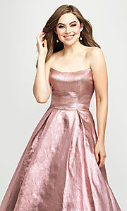 Image of Madison James long a-line glitter formal prom gown. Style: NM-19-111 Detail Image 1