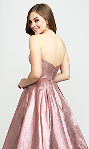 Image of Madison James long a-line glitter formal prom gown. Style: NM-19-111 Detail Image 2