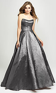 Image of Madison James long a-line glitter formal prom gown. Style: NM-19-111 Detail Image 3