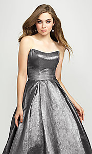 Image of Madison James long a-line glitter formal prom gown. Style: NM-19-111 Detail Image 4