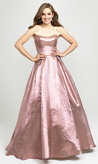 Madison James Long A-Line Glitter Formal Prom Gown