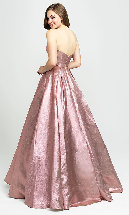 Image of Madison James long a-line glitter formal prom gown. Style: NM-19-111 Back Image