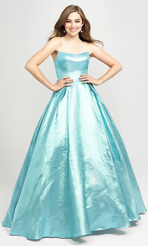 Image of Madison James long a-line glitter formal prom gown. Style: NM-19-111 Detail Image 5