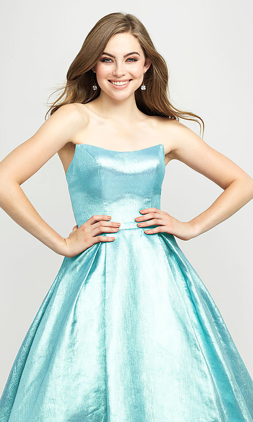 Image of Madison James long a-line glitter formal prom gown. Style: NM-19-111 Detail Image 6