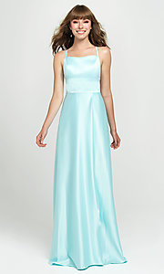 Image of lace-up open-back long satin formal prom dress. Style: NM-19-115 Front Image