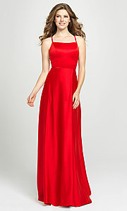 Image of lace-up open-back long satin formal prom dress. Style: NM-19-115 Detail Image 1