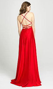 Image of lace-up open-back long satin formal prom dress. Style: NM-19-115 Back Image