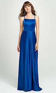 Image of lace-up open-back long satin formal prom dress. Style: NM-19-115 Detail Image 4