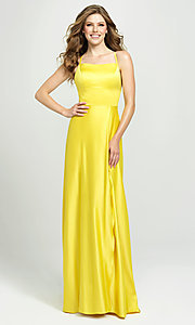 Image of lace-up open-back long satin formal prom dress. Style: NM-19-115 Detail Image 2