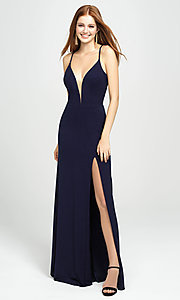 Image of Madison James glitter long formal prom dress. Style: NM-19-154 Front Image