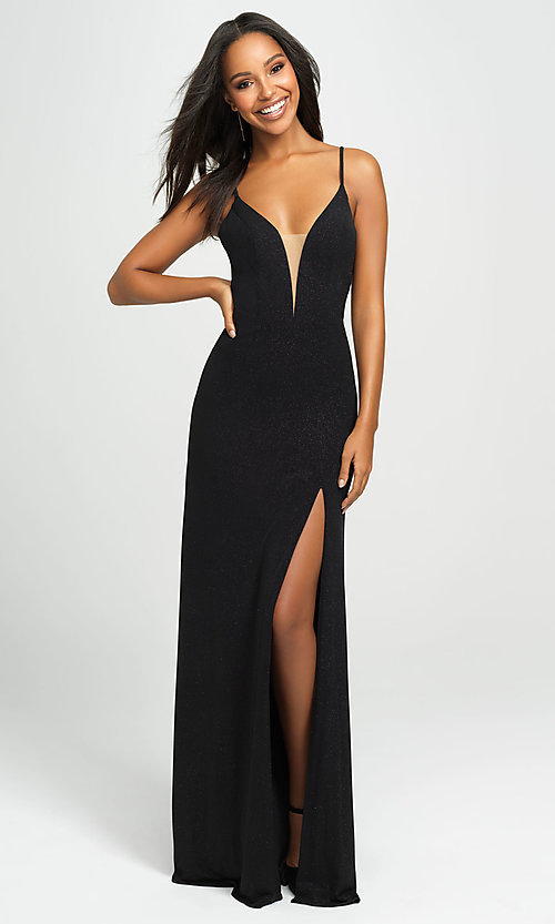 Image of Madison James glitter long formal prom dress. Style: NM-19-154 Detail Image 1