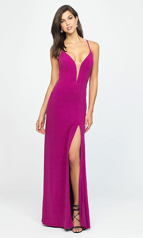 Image of Madison James glitter long formal prom dress. Style: NM-19-154 Detail Image 4