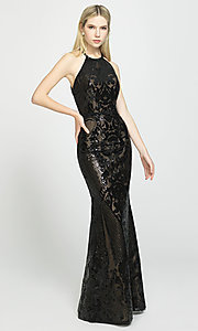 Image of long high-neck sequin formal gown by Madison James. Style: NM-19-173 Detail Image 4