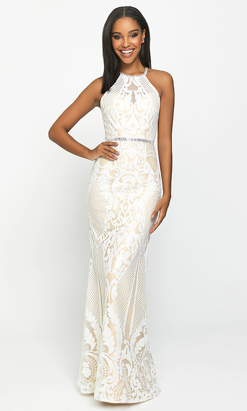 Image of long high-neck sequin formal gown by Madison James. Style: NM-19-173 Detail Image 3