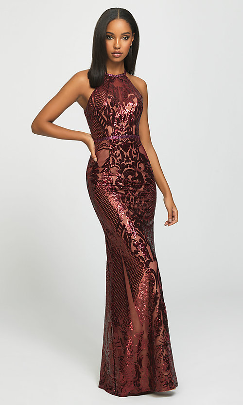 Image of long high-neck sequin formal gown by Madison James. Style: NM-19-173 Front Image
