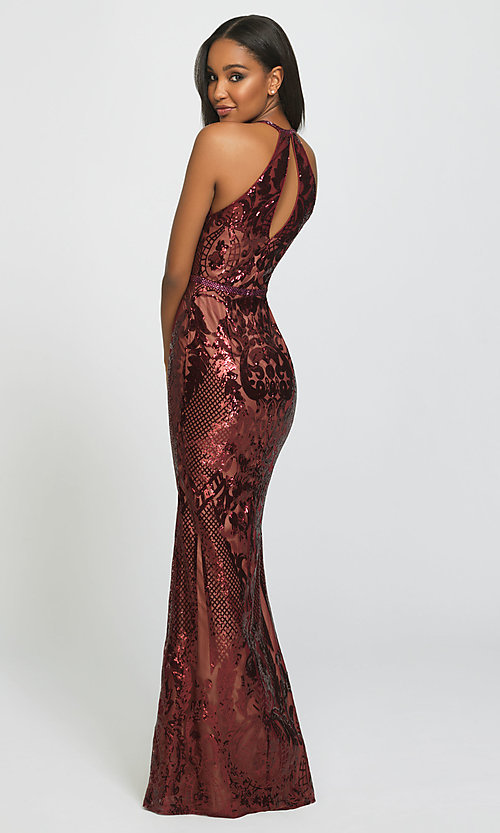 Image of long high-neck sequin formal gown by Madison James. Style: NM-19-173 Back Image