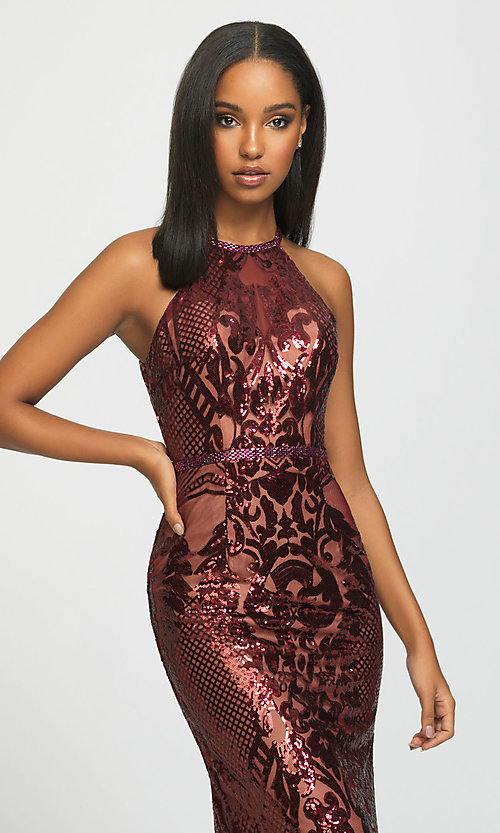 Image of long high-neck sequin formal gown by Madison James. Style: NM-19-173 Detail Image 1
