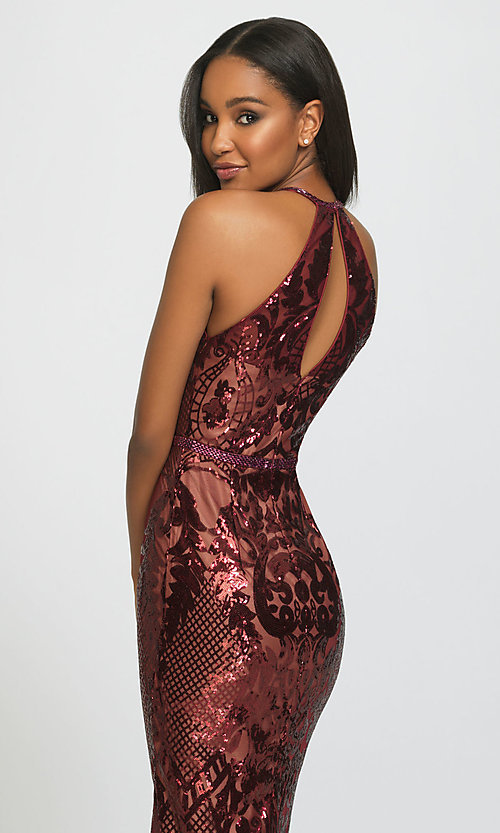 Image of long high-neck sequin formal gown by Madison James. Style: NM-19-173 Detail Image 2