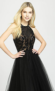 Image of high-neck a-line formal gown with sequined bodice. Style: NM-19-174 Detail Image 1