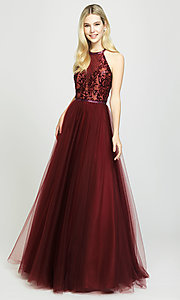 Image of high-neck a-line formal gown with sequined bodice. Style: NM-19-174 Detail Image 3