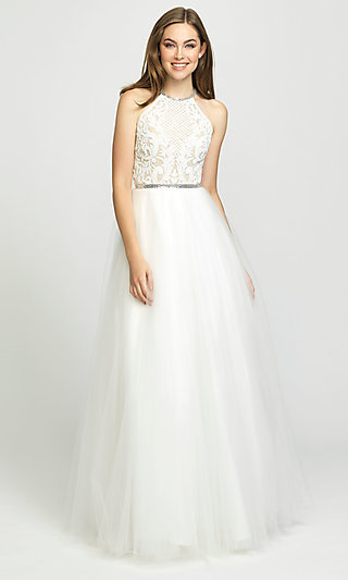 High-Neck A-Line Formal Gown with Sequined Bodice