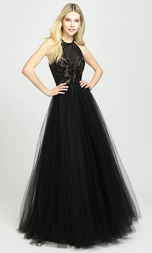 Image of high-neck a-line formal gown with sequined bodice. Style: NM-19-174 Front Image