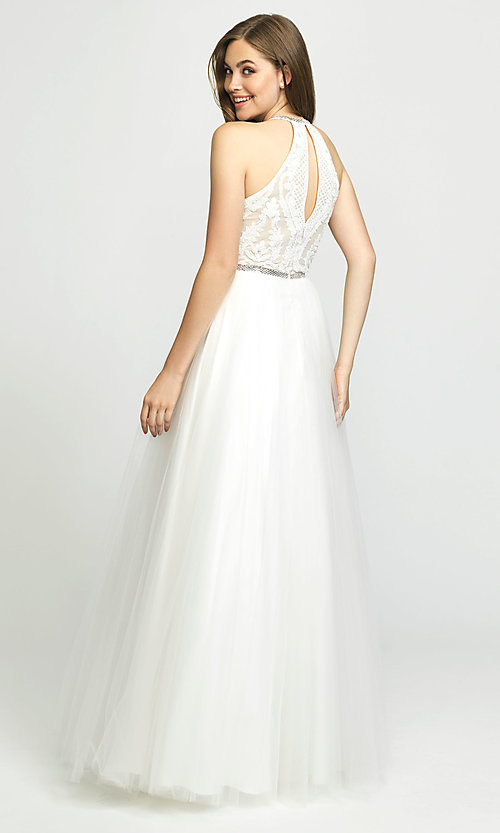 Image of high-neck a-line formal gown with sequined bodice. Style: NM-19-174 Back Image